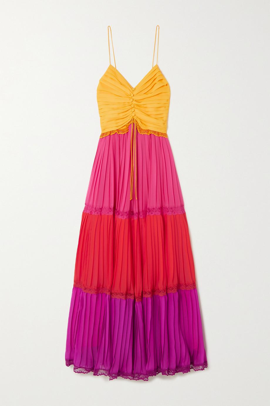 Racil Robe plissée en mousseline color-block à finitions en dentelle Nina