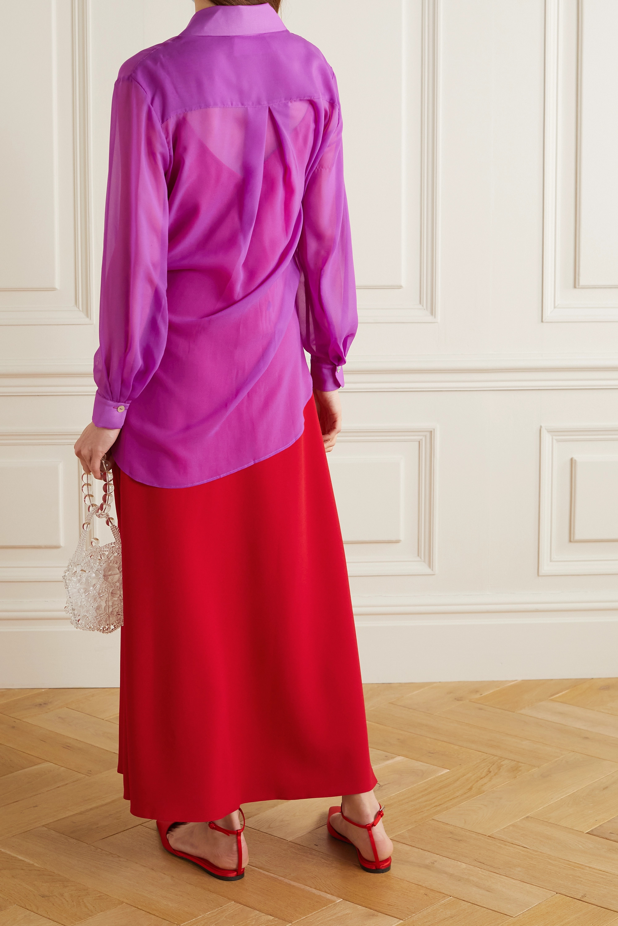 Racil Alaya Set aus Hemd aus Chiffon und Kleid aus Crêpe de Chine