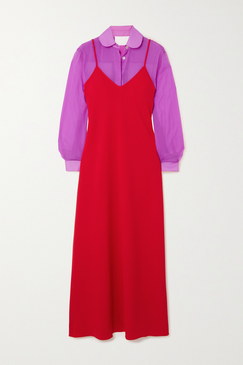Racil Alaya crepe de chine and chiffon dress and shirt set