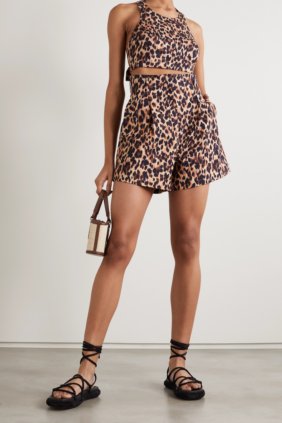 Racil Sabi leopard-print cotton-blend shorts