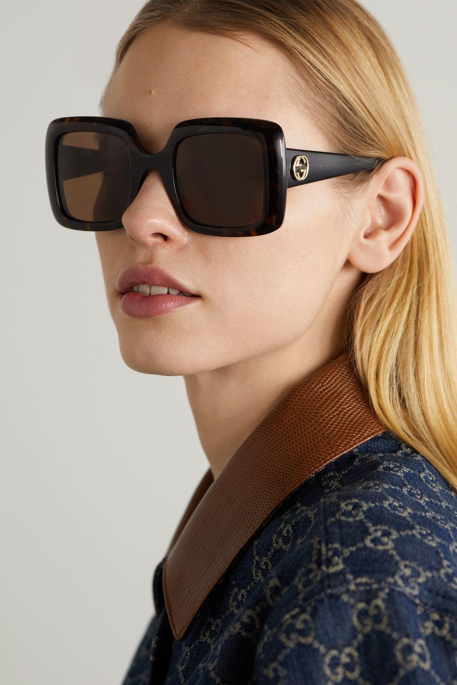 Gucci Lunettes de soleil carrées en acétate effet écaille