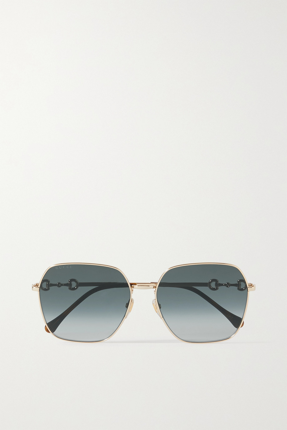 Gucci Lunettes de soleil carrées en métal doré