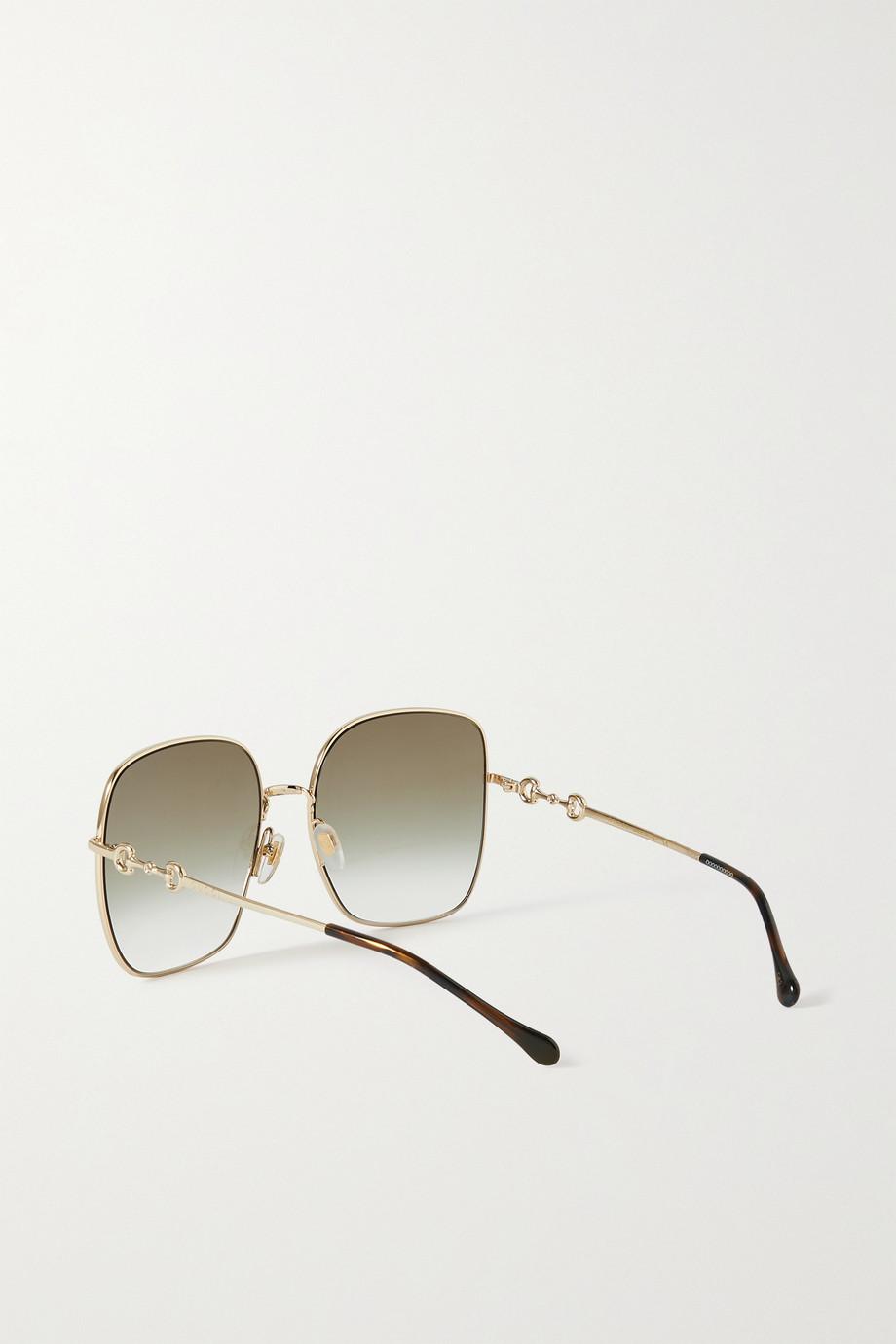 Gucci Goldfarbene Sonnenbrille mit eckigem Rahmen und Horsebit-Detail