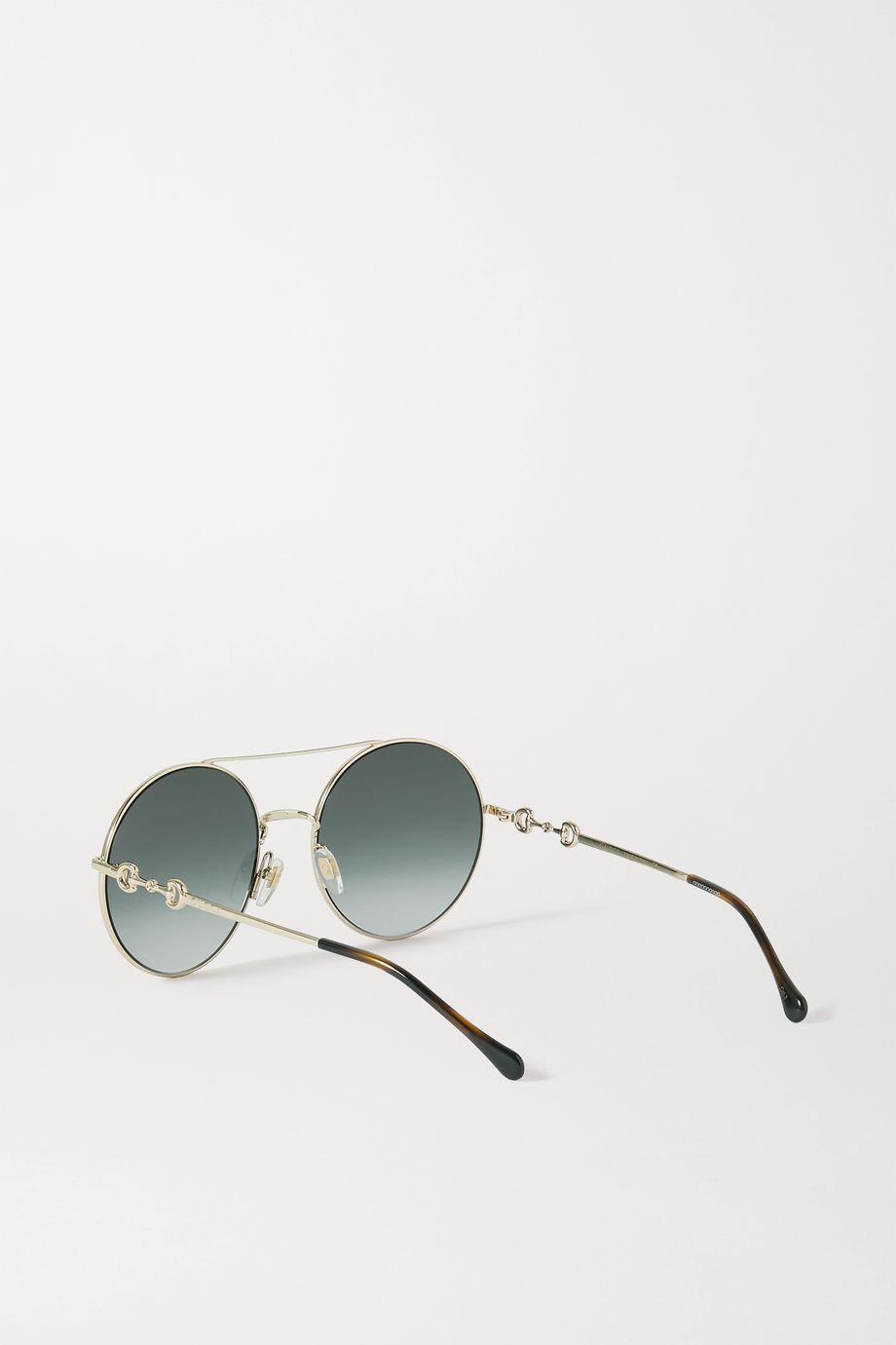Gucci Goldfarbene Sonnenbrille mit rundem Rahmen