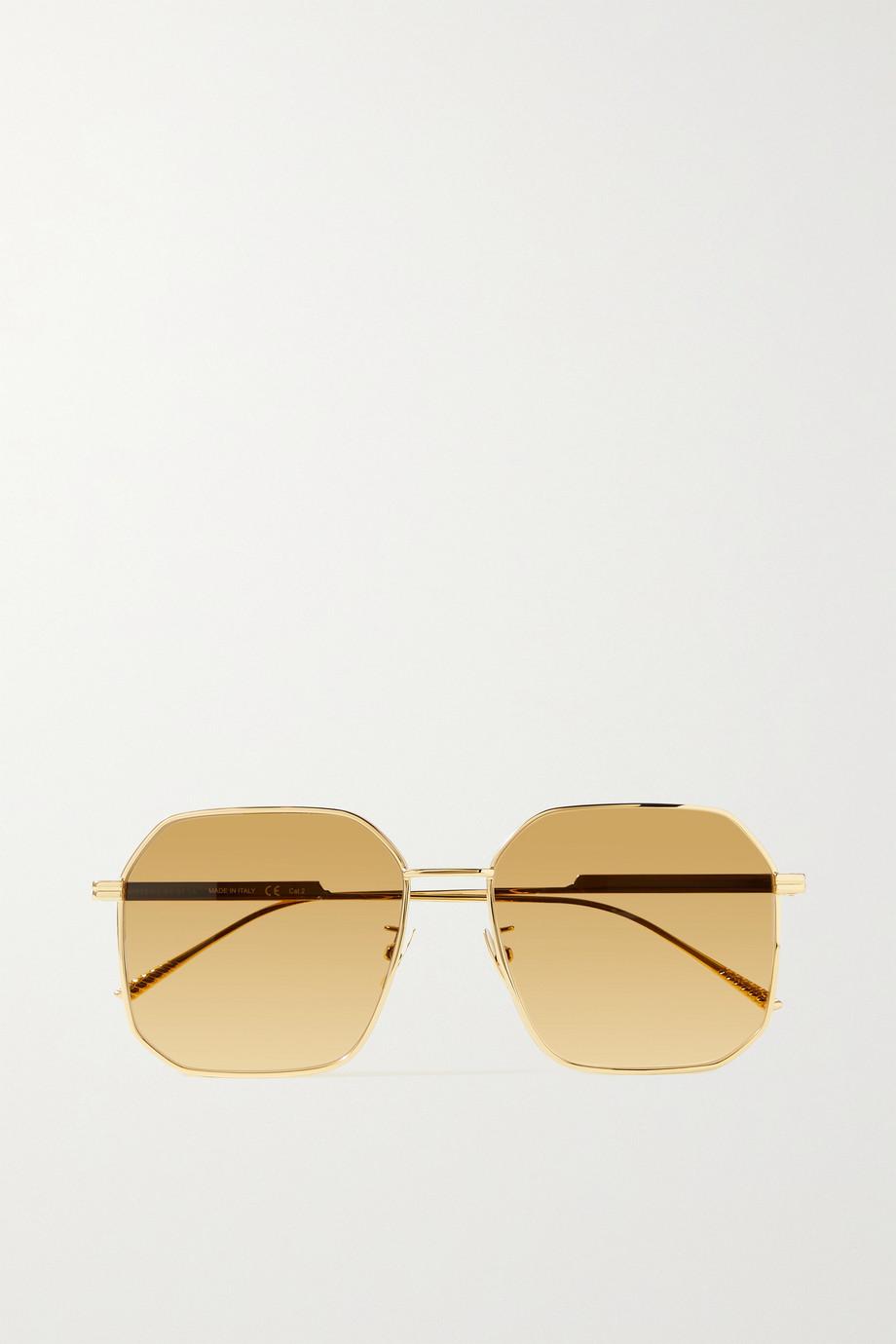 Bottega Veneta Goldfarbene verspiegelte Sonnenbrille mit sechseckigem Rahmen