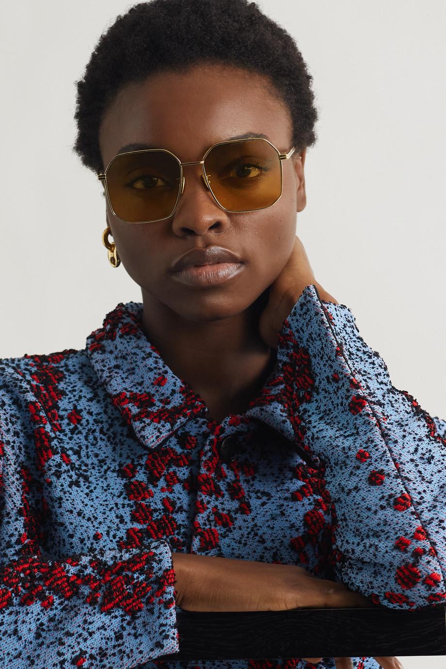 Bottega Veneta Hexagon-frame gold-tone mirrored sunglasses