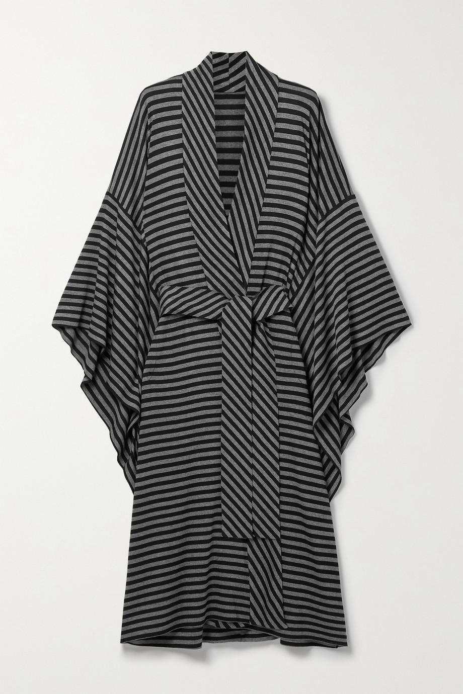 Norma Kamali Belted striped stretch-jersey robe