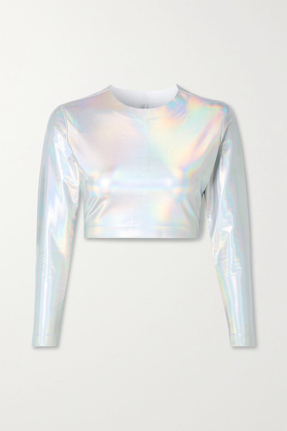 Norma Kamali Cropped iridescent coated stretch-jersey top