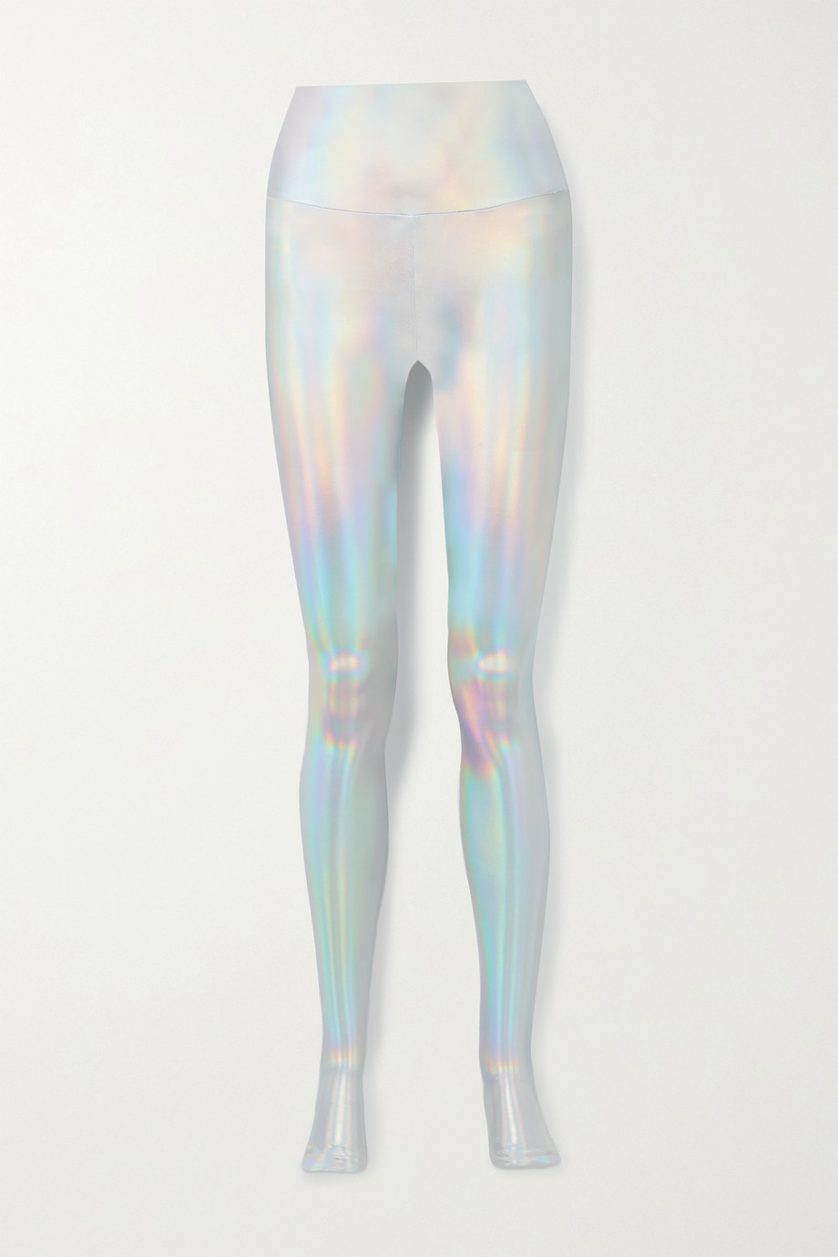 Norma Kamali Iridescent coated stretch-jersey stirrup leggings