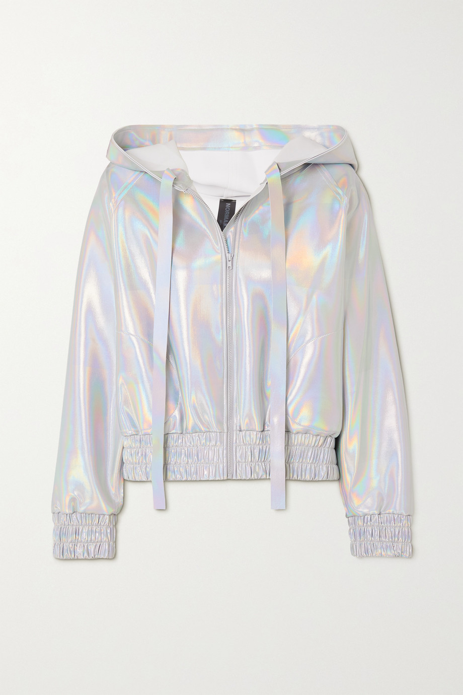 Norma Kamali Hooded iridescent coated stretch-jersey bomber jacket