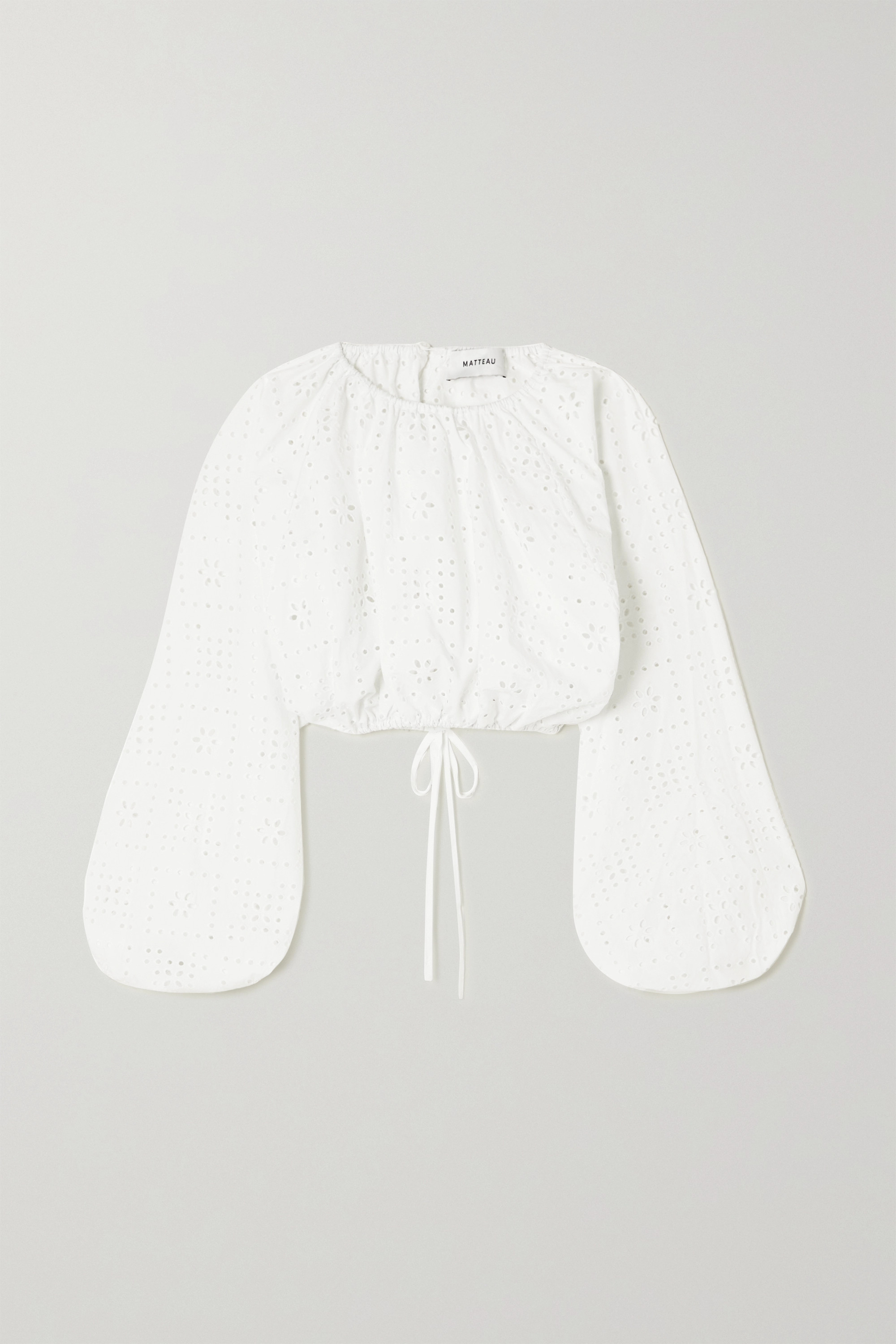 Matteau + NET SUSTAIN cropped broderie anglaise organic cotton-poplin top