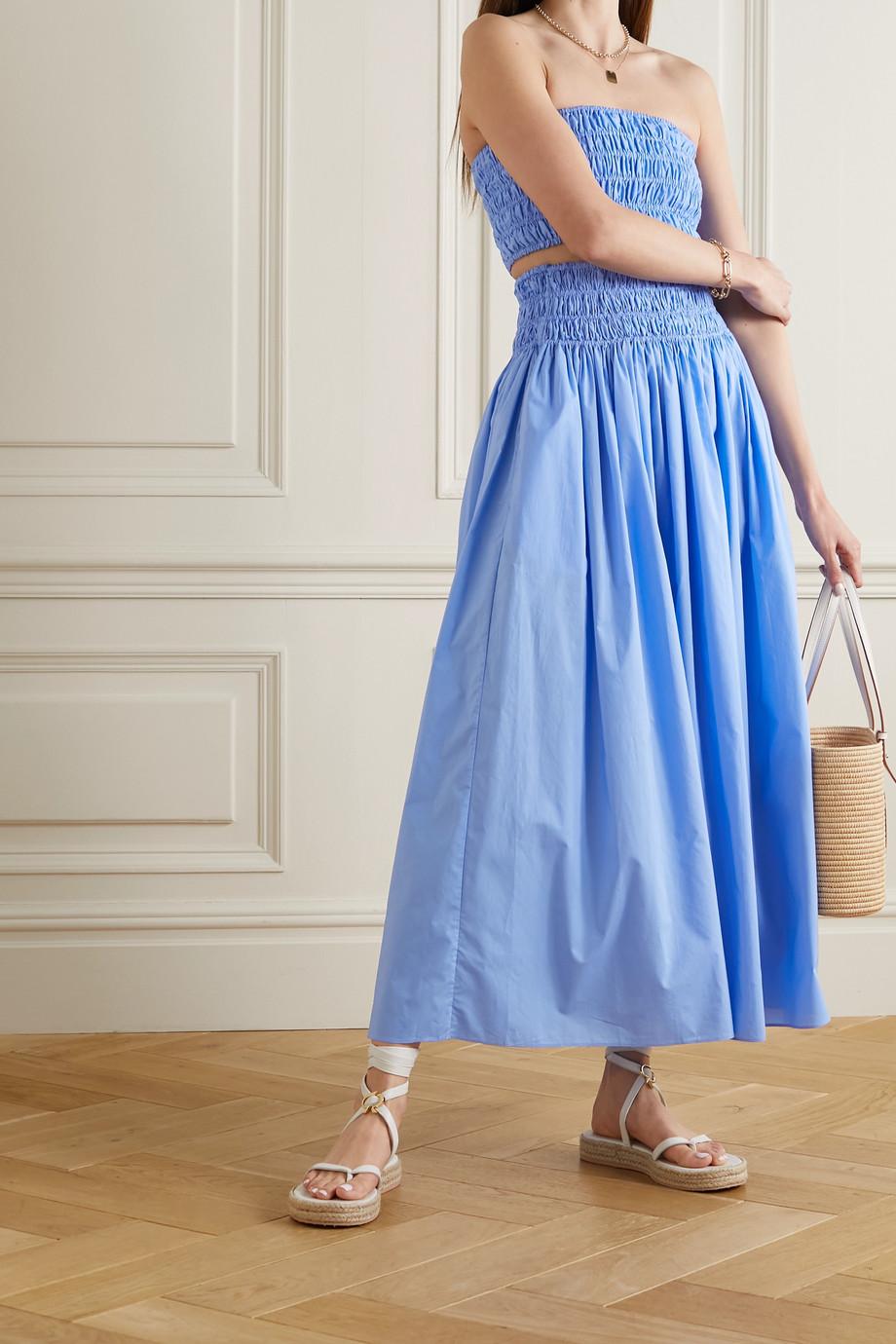 Matteau + NET SUSTAIN shirred organic cotton-poplin maxi skirt
