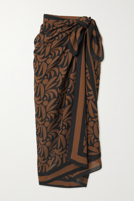 Matteau + NET SUSTAIN printed silk-georgette pareo