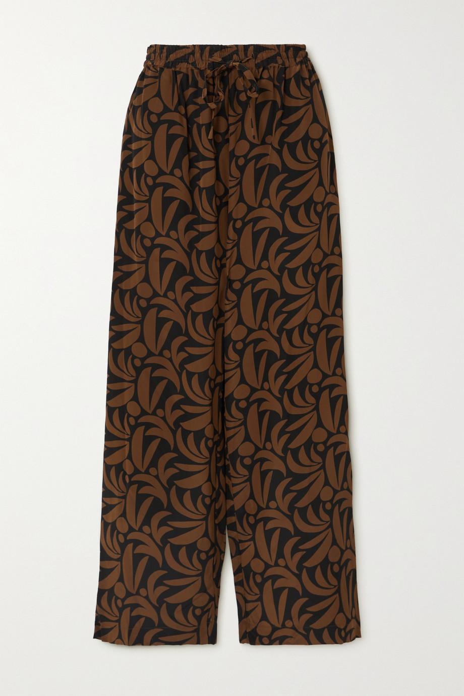 Matteau Pantalon droit en soie imprimée - NET SUSTAIN
