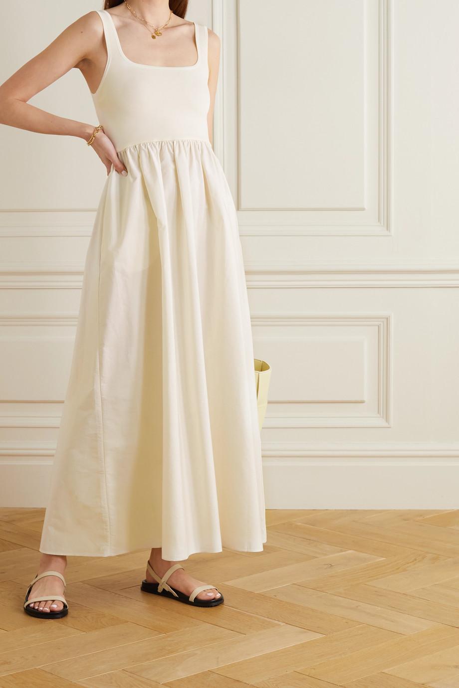 Matteau + NET SUSTAIN cotton-poplin and stretch-knit maxi dress