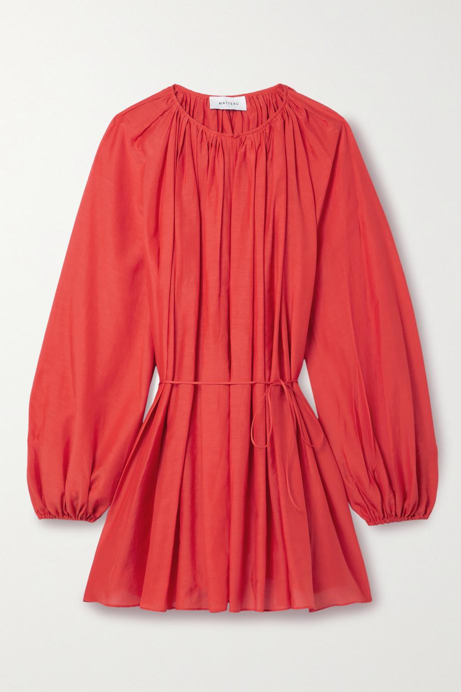 Matteau + NET SUSTAIN gathered organic cotton and silk-blend mini dress