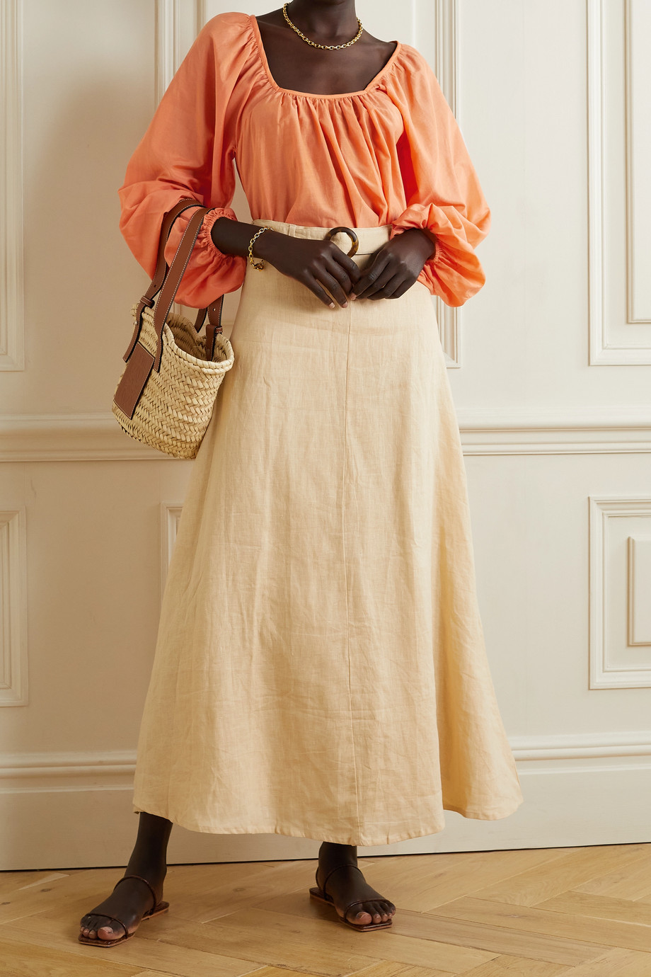 Matteau + NET SUSTAIN Decolette gathered organic cotton and silk-blend blouse