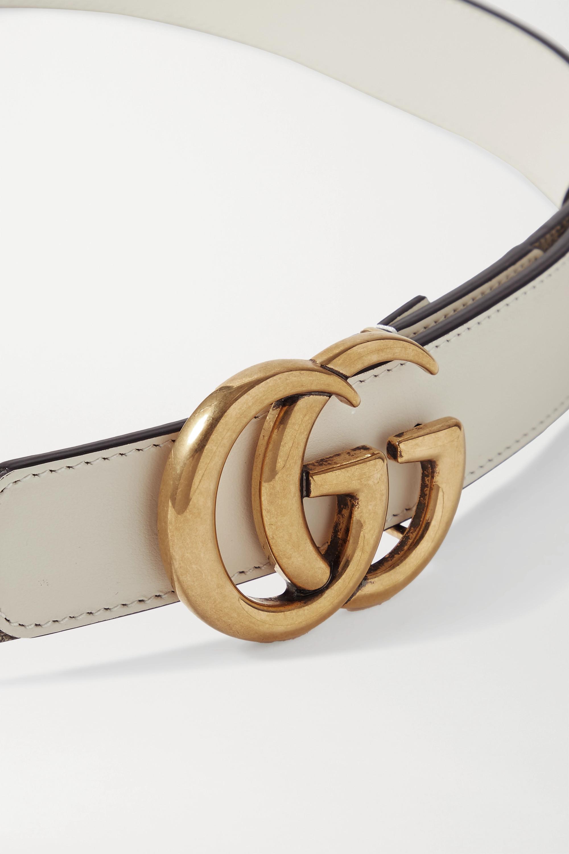 Gucci Ceinture en toile enduite imprimée à finitions en cuir GG Marmont