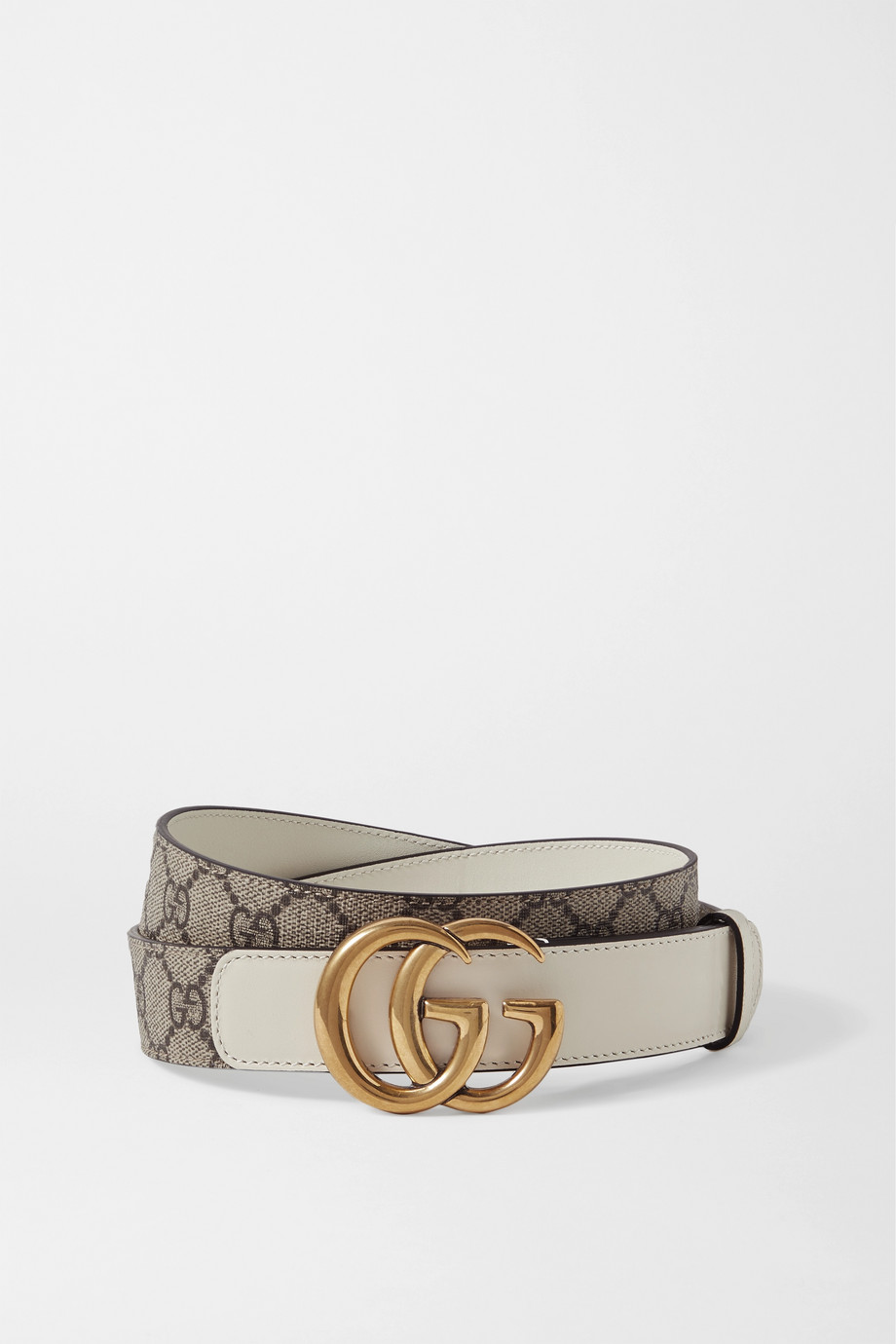 Gucci GG Marmont leather-trimmed printed coated-canvas belt