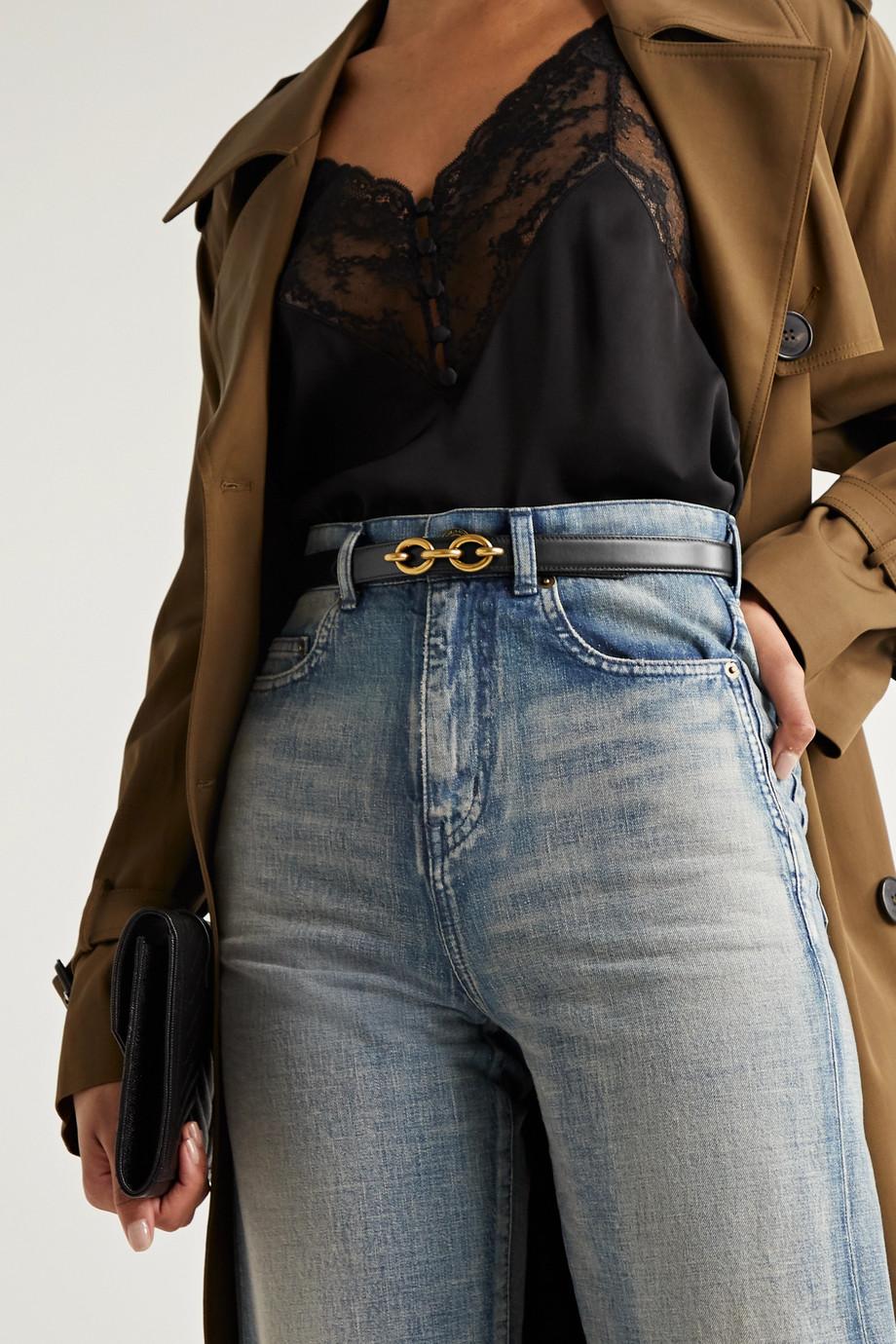 SAINT LAURENT Chain-embellished leather belt