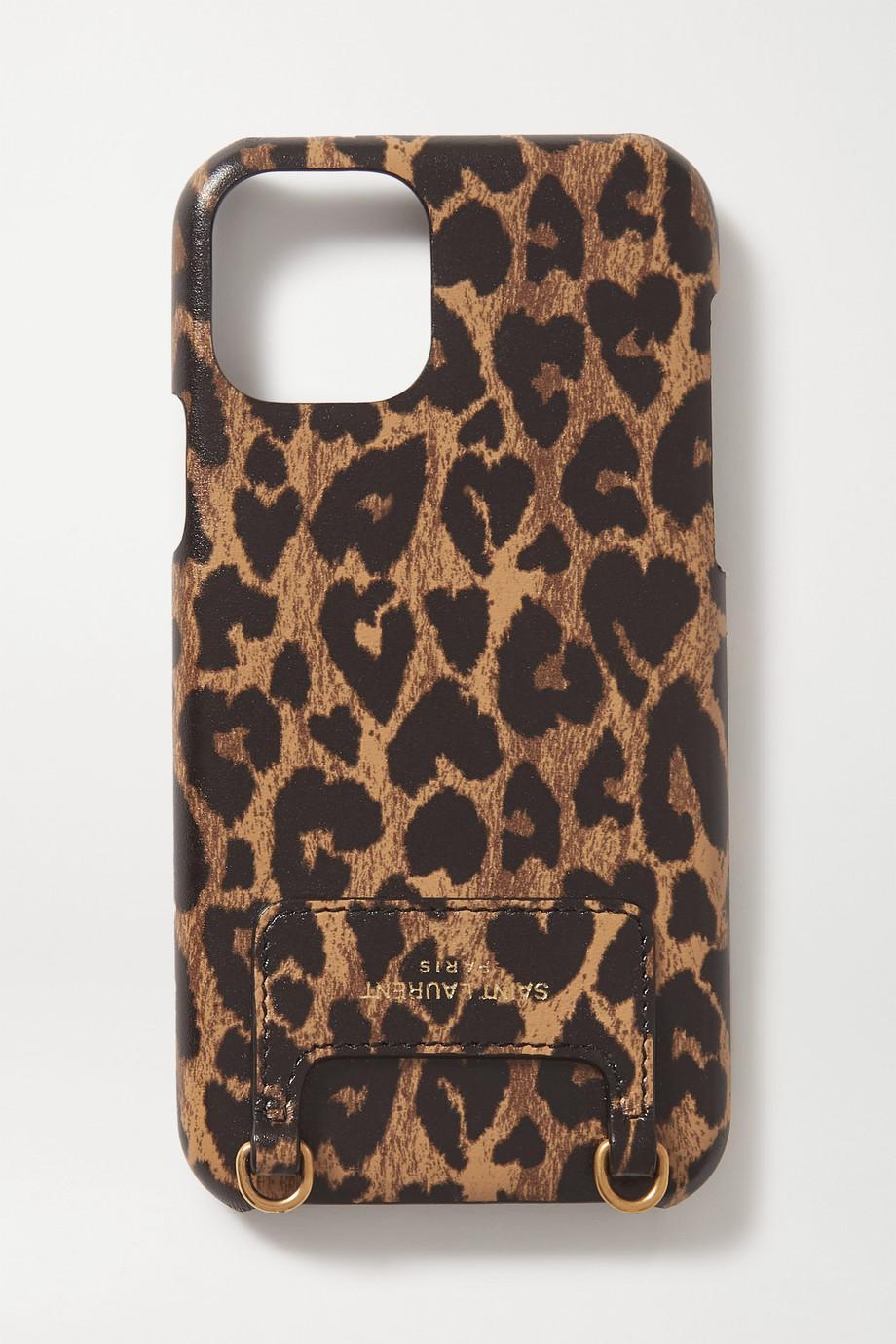 SAINT LAURENT Coque pour iPhone 11 Pro en cuir à imprimé léopard