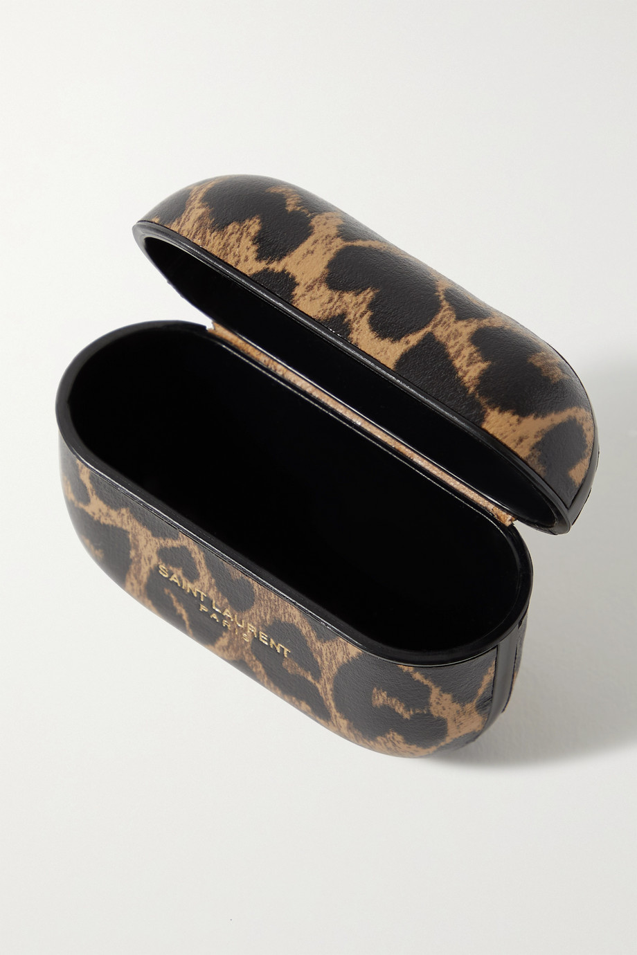 SAINT LAURENT Étui pour AirPods Pro en cuir à imprimé léopard