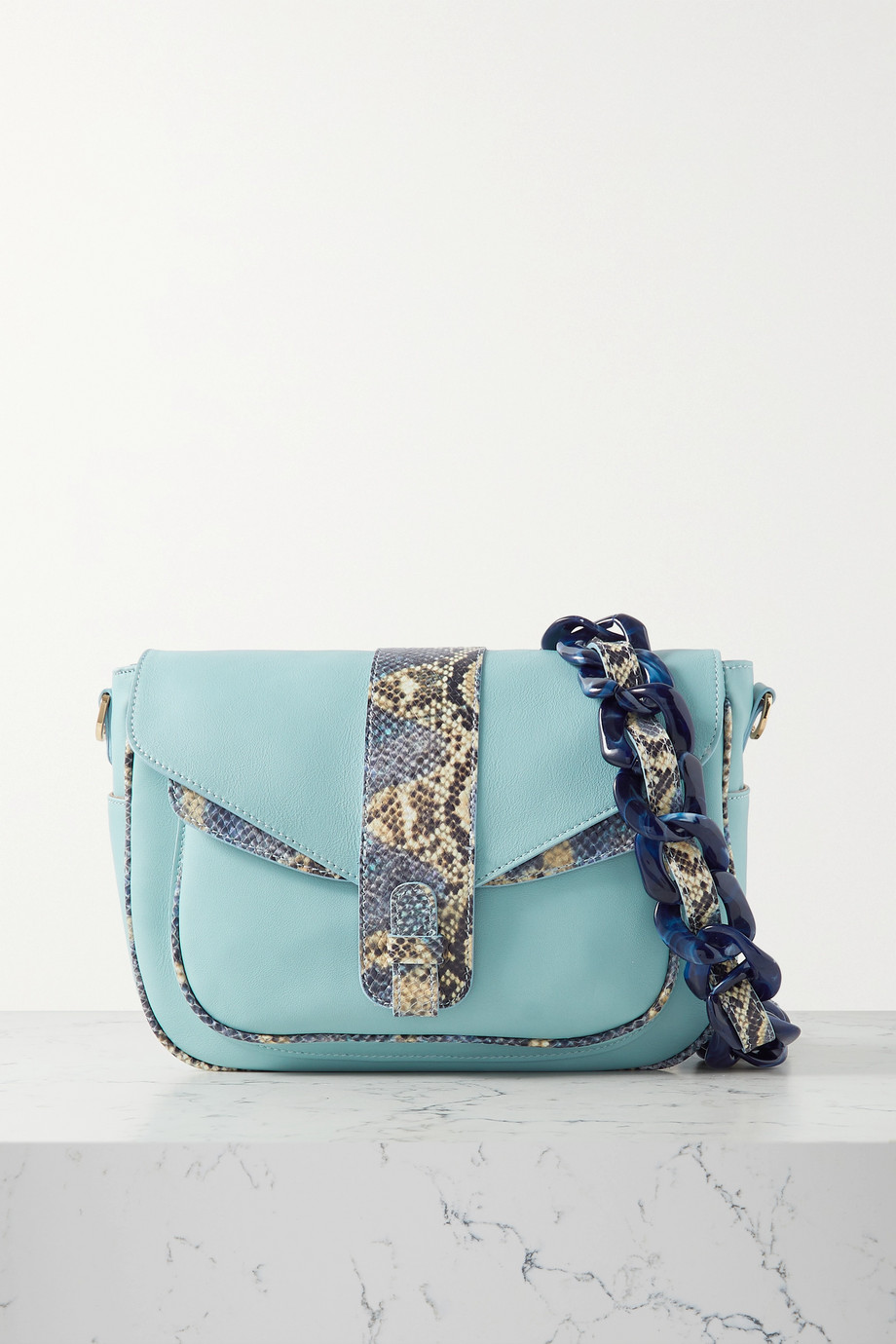 Ximena Kavalekas Kara snake-effect and smooth leather shoulder bag