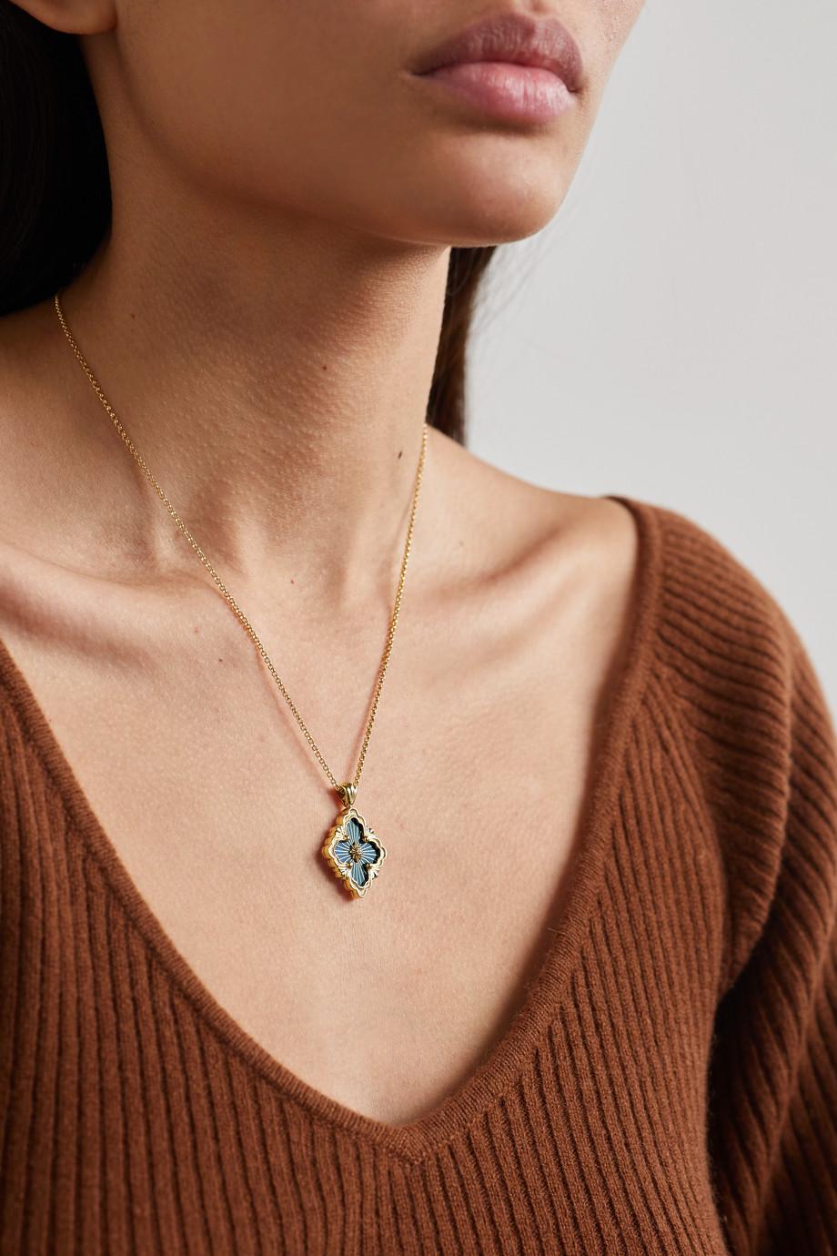 Buccellati Opera Tulle 18-karat gold enamel necklace