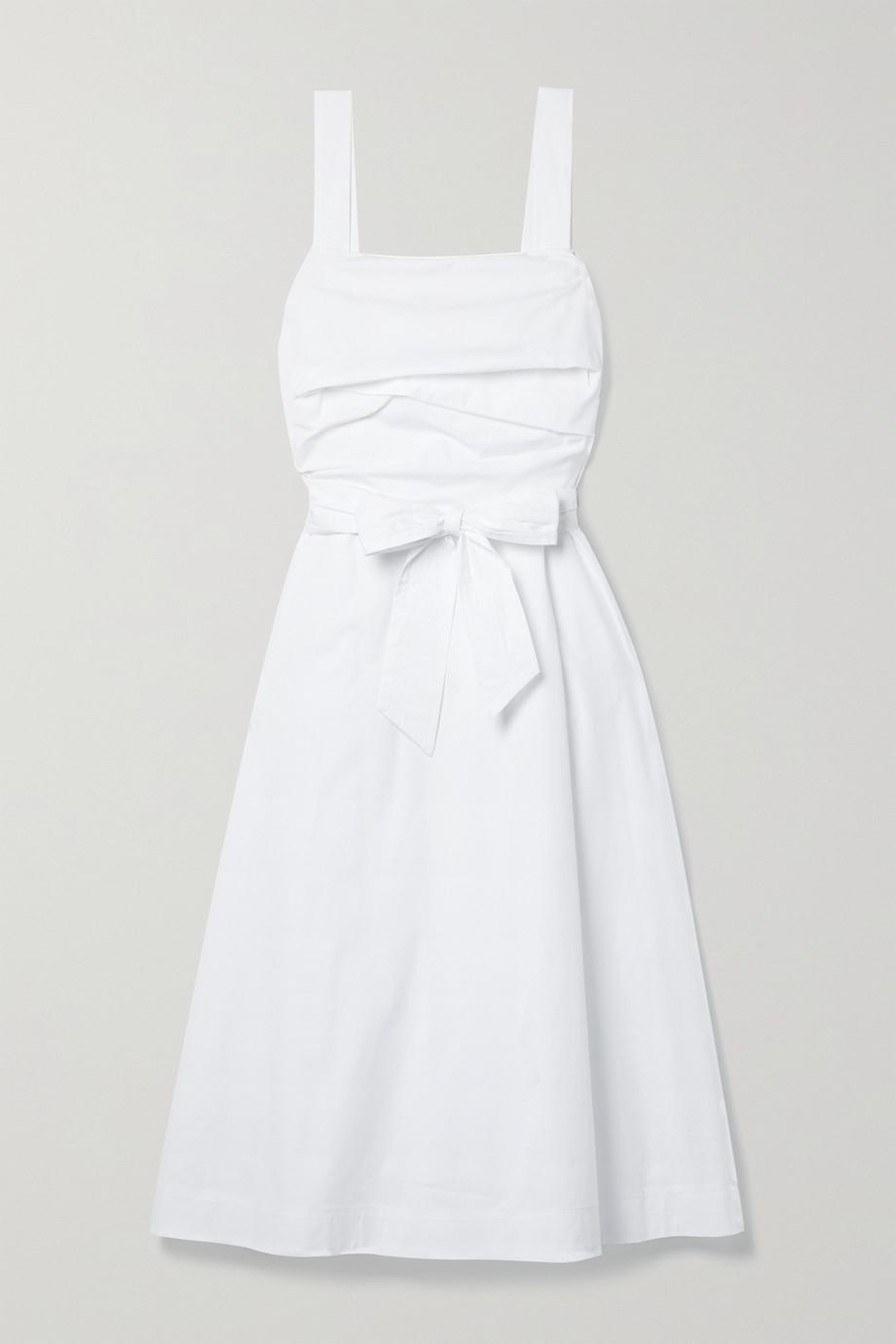 Veronica Beard Positano belted ruched cotton-blend poplin midi dress