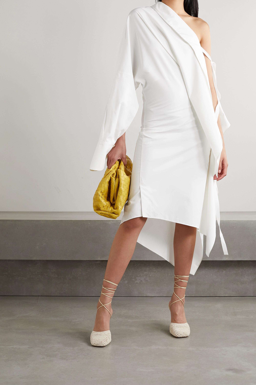 Petar Petrov Aaber one-sleeve draped cotton and silk-blend poplin midi dress