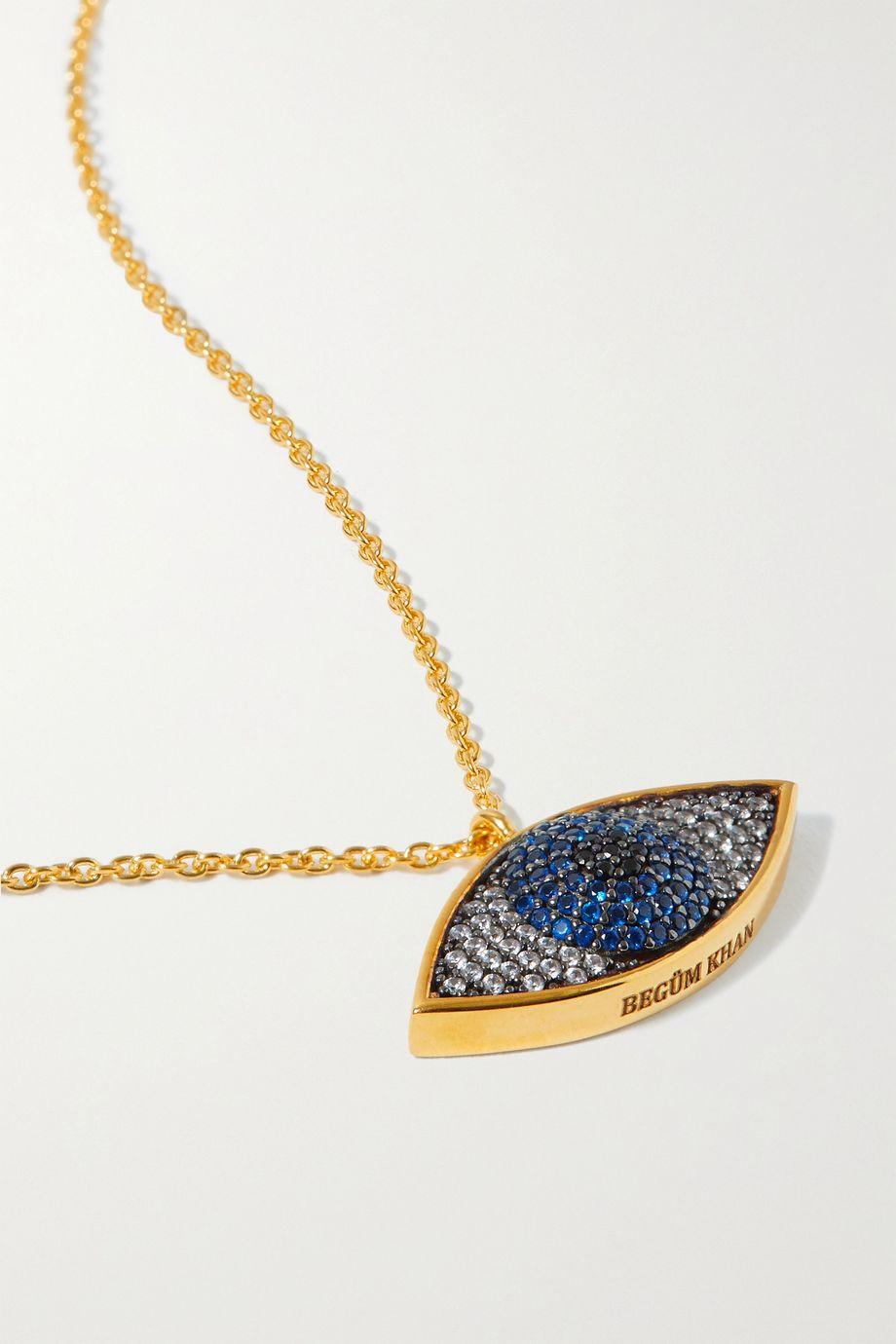Begüm Khan Nazar gold-plated crystal necklace