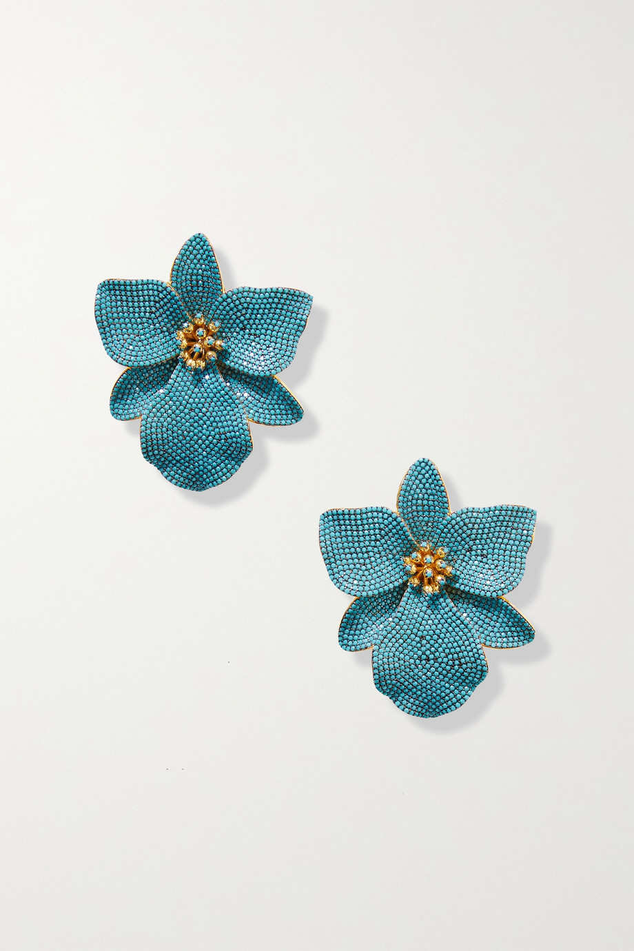 Begüm Khan Singapore Orchids gold-plated, faux turquoise and enamel clip earrings