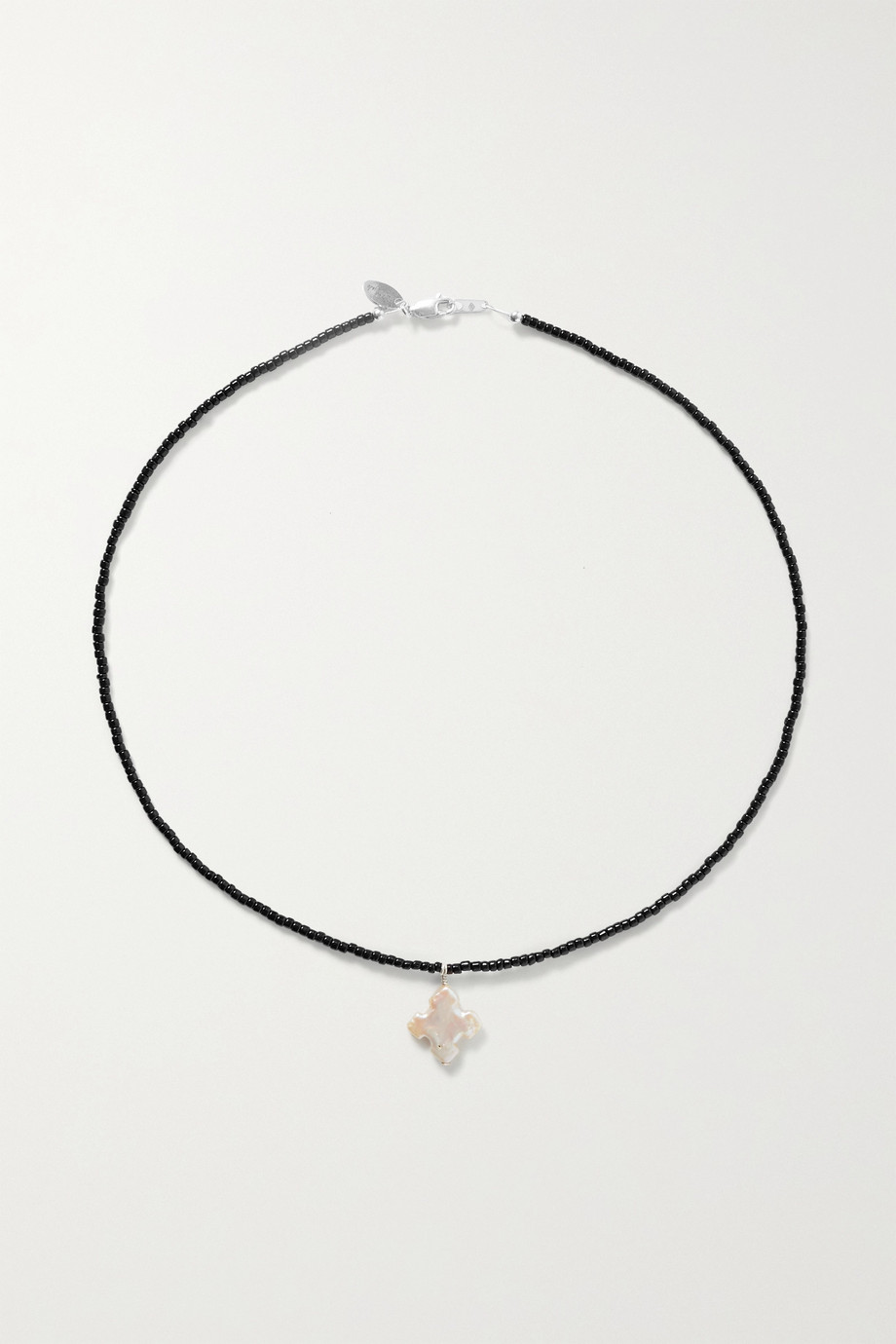 Santangelo Suma silver, pearl and bead necklace