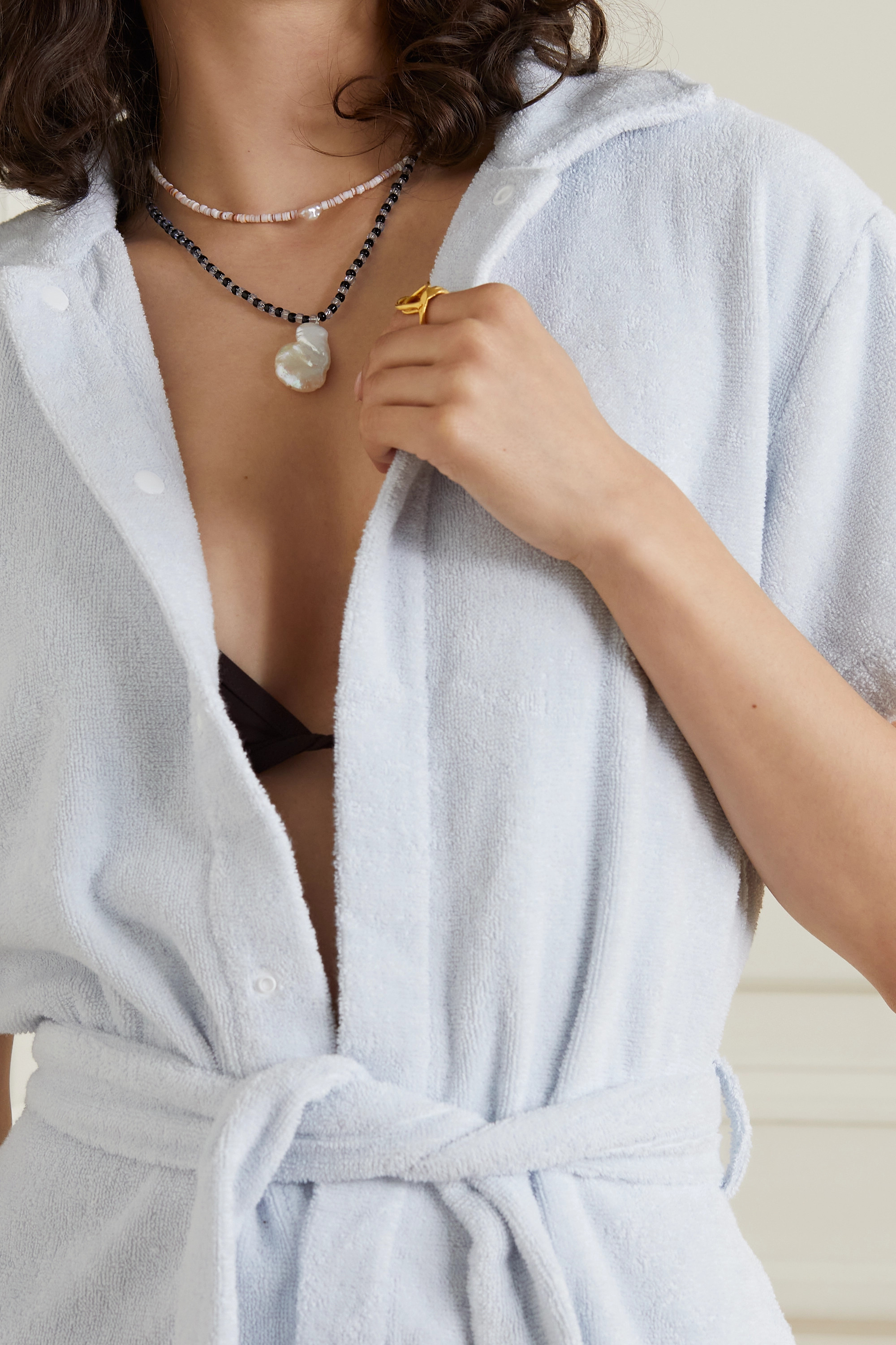 Santangelo Shoom silver, shell and pearl necklace