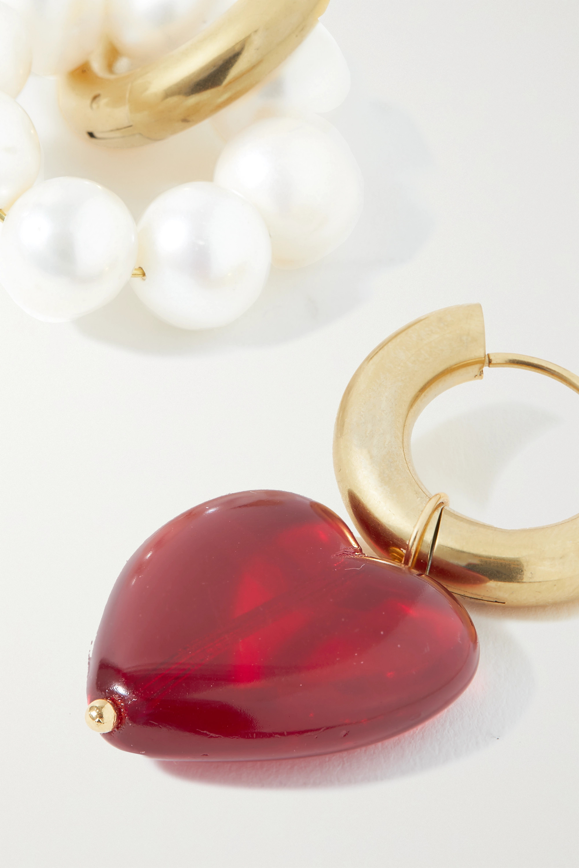 Timeless Pearly Gold-plated, pearl and glass earrings