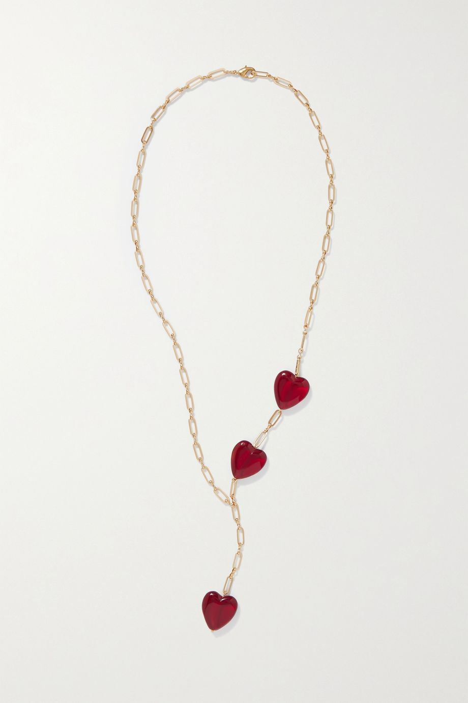 Timeless Pearly Gold-tone resin necklace