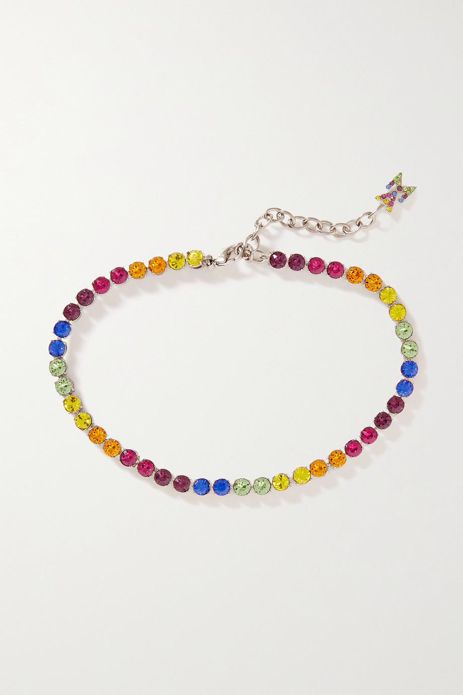 Amina Muaddi Silver-tone crystal anklet