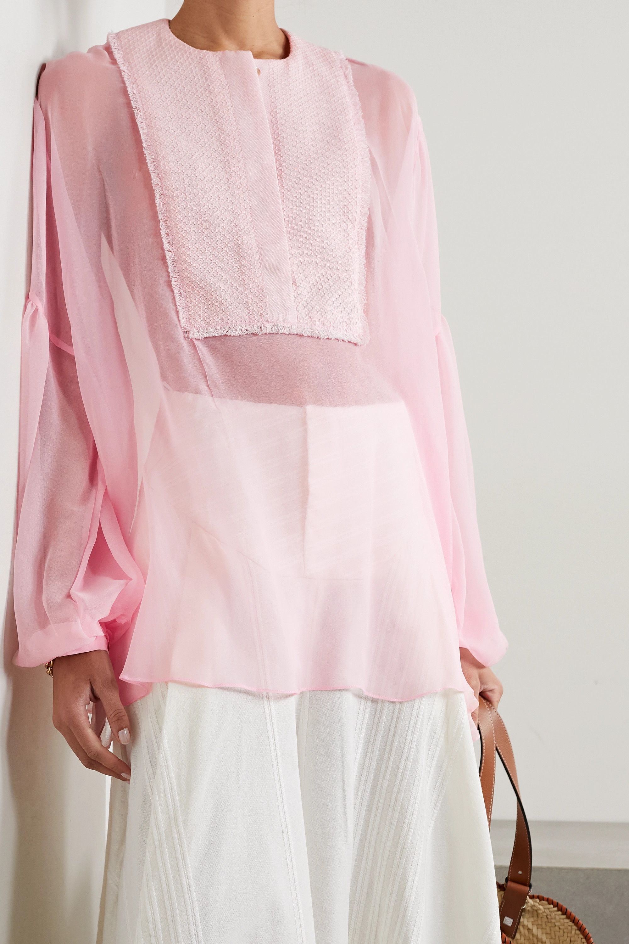 Rue Mariscal + NET SUSTAIN embroidered cotton and silk-chiffon blouse