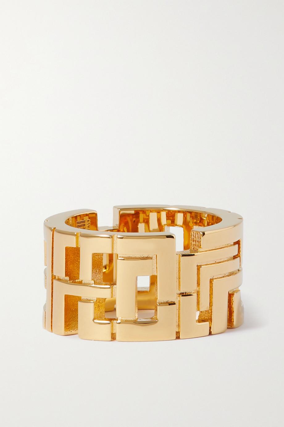 Leda Madera Bague en plaqué or et cristaux Goldie