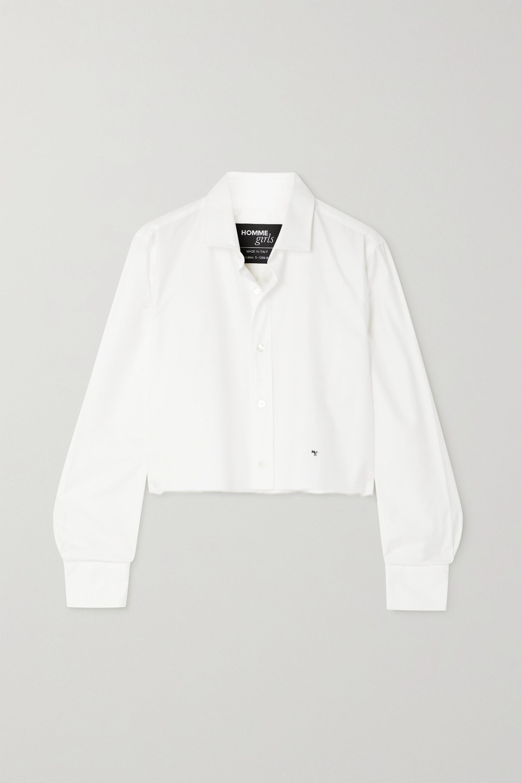Hommegirls Verkürztes Hemd aus Baumwollpopeline mit Stickerei und Distressed-Details