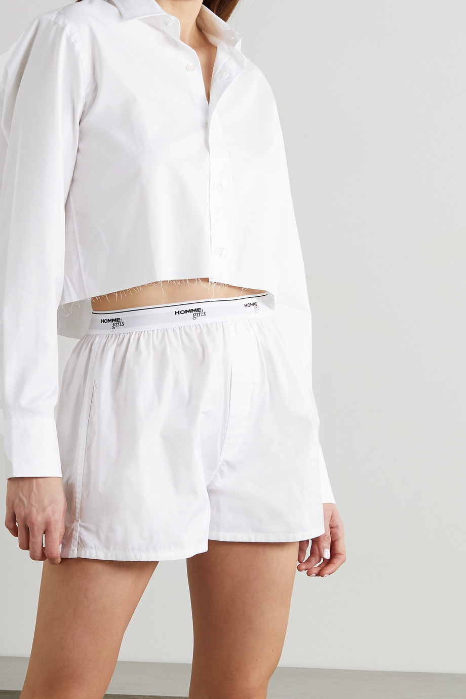 Hommegirls Cropped distressed embroidered cotton-poplin shirt