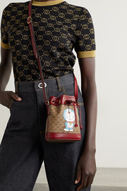 Gucci + Doraemon textured leather-trimmed printed coated-canvas bucket bag