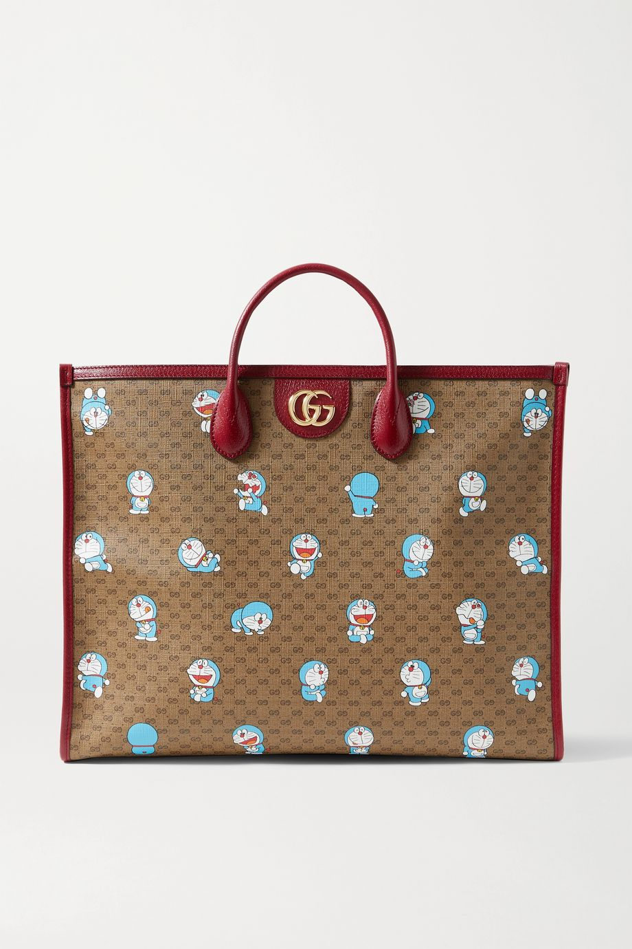 Gucci + Doraemon textured leather-trimmed printed coated-canvas tote