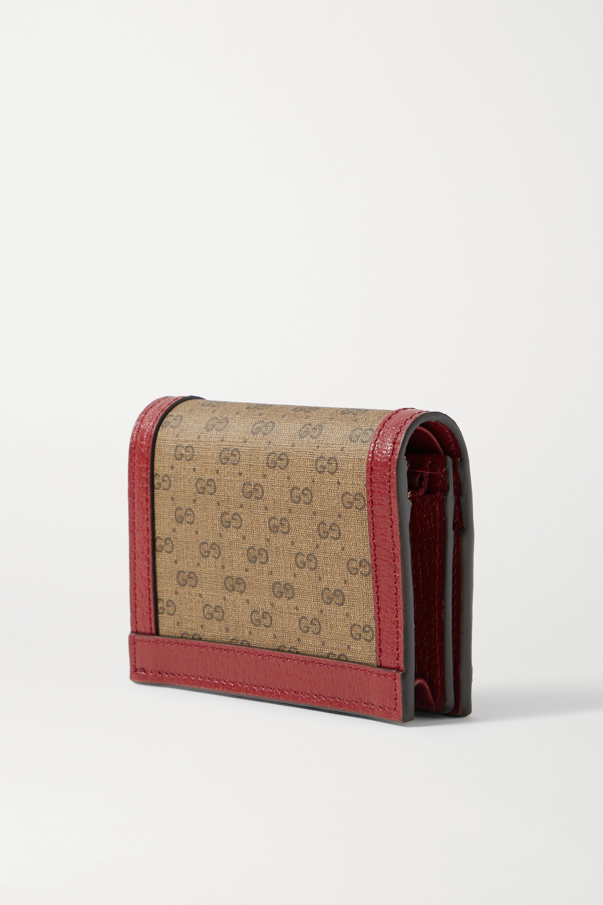 Gucci + Doraemon textured leather-trimmed printed coated-canvas wallet