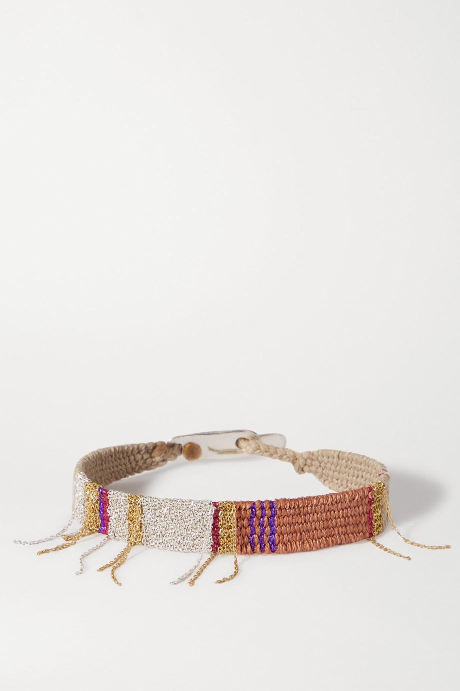 Katia Alpha Metallic woven cord, gold vermeil and silver bracelet