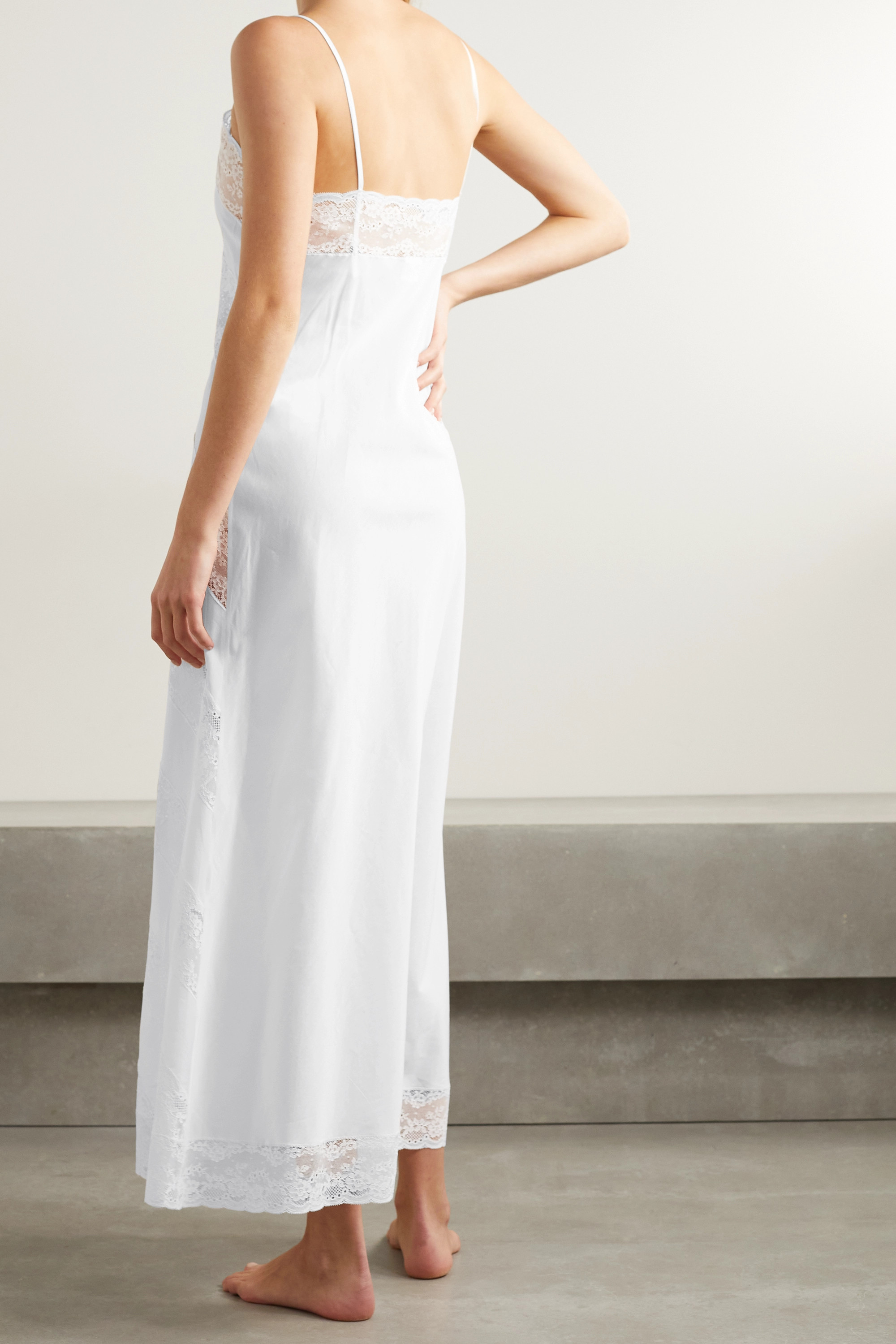 Loretta Caponi Gabrielle lace-paneled cotton-voile nightdress