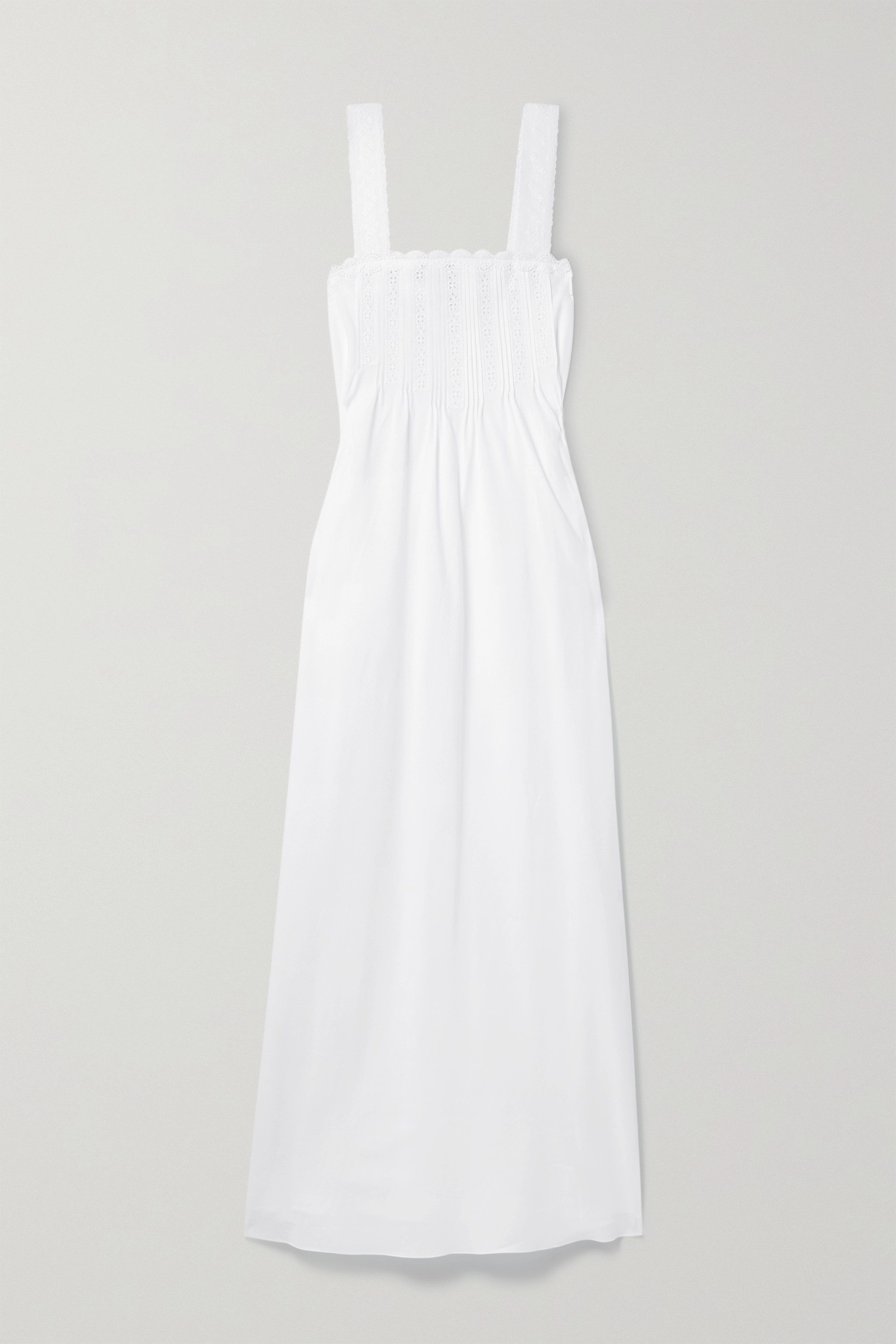 Loretta Caponi Maddalena lace-trimmed broderie anglaise cotton-voile nightdress