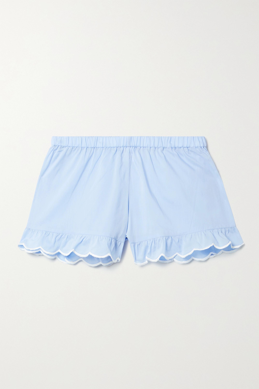 Loretta Caponi Silvia scalloped cotton-voile shorts