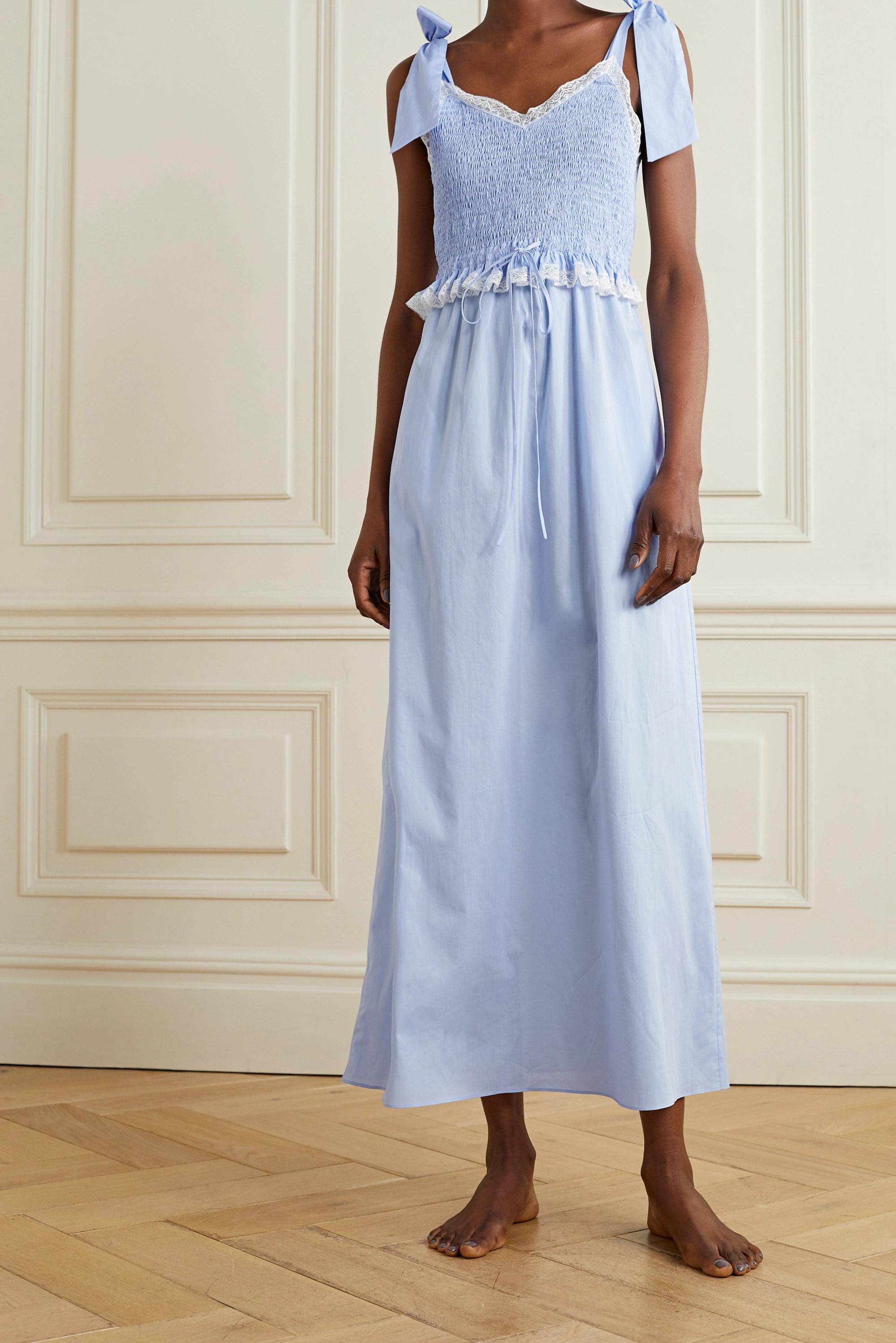 Loretta Caponi Viviana shirred lace-trimmed cotton-voile nightdress