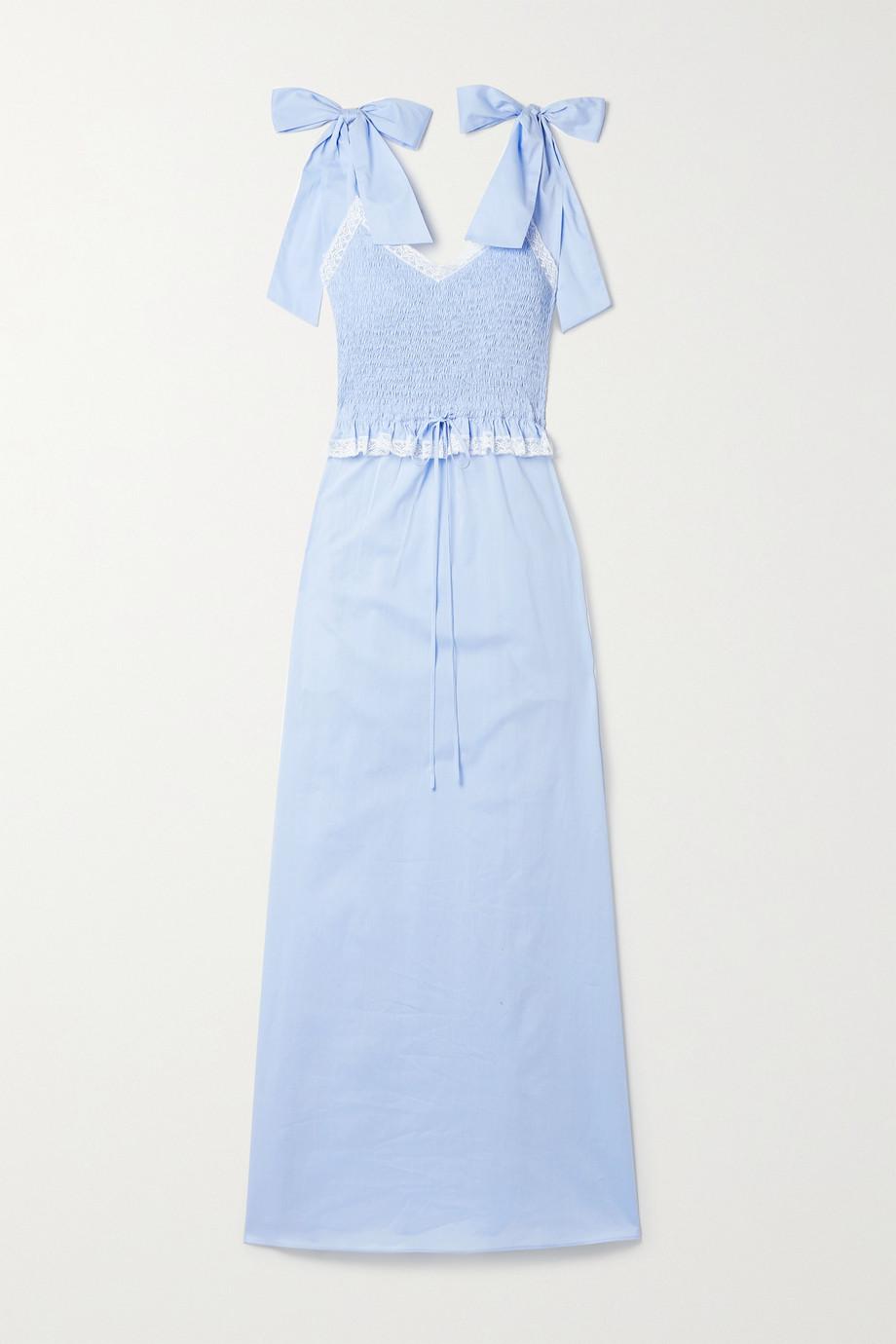 Loretta Caponi Chemise de nuit en voile de coton à finitions en dentelle et à smocks Viviana